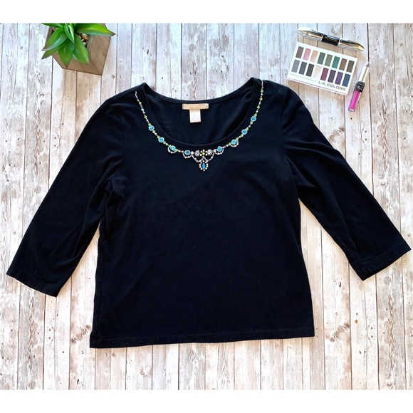 Signature Studio 3/4 sleeve knit embellished top